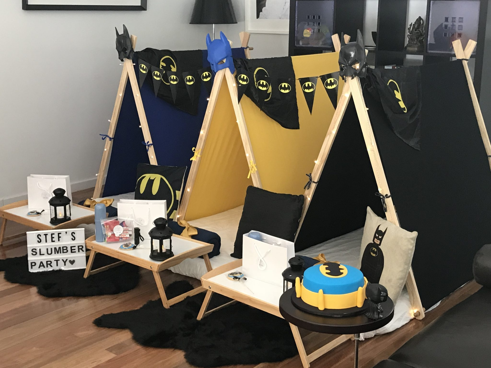 Batman Theme Slumber party Angels Teepees Sydney, batman cake, batman teepee party