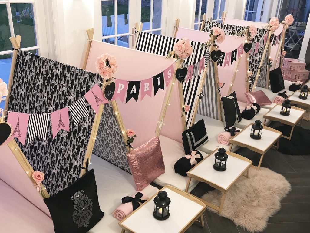 Paris Theme for slumber party, spa party, teepee party, Angels Teepees Sydney