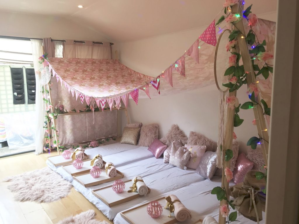 Pink Oasis Themed teepee slumber and spa party by Angel's Teepees Sydney