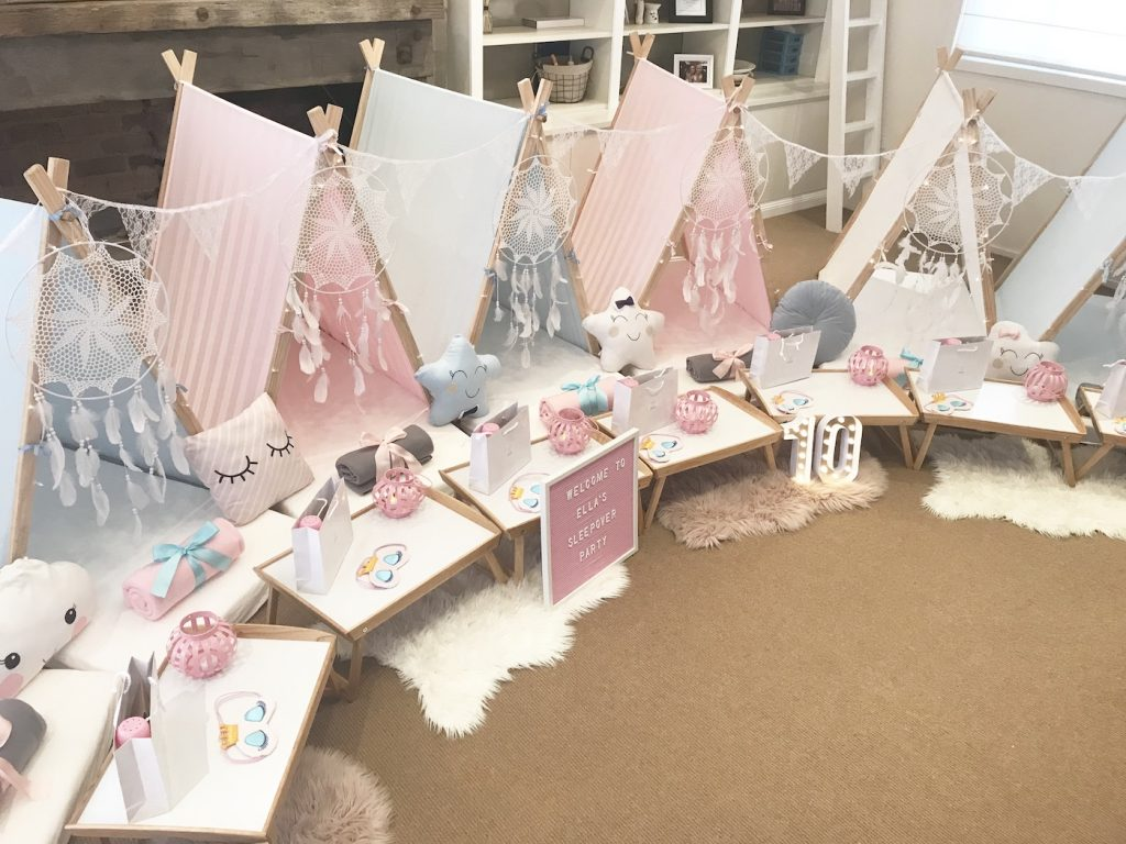 Beautiful teepee party set up, slumber and spa parties, Angels Teepees sydney, sweet dreams theme