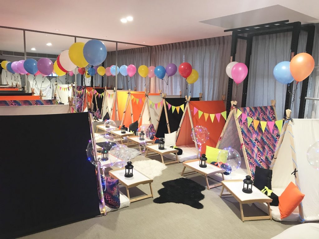 Neon Themed teepee party, slumber parties by Angels Teepees Sydney