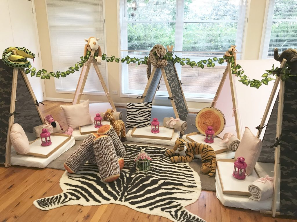 Pink Safari Theme teepee party, slumber parties by Angels Teepees Sydney