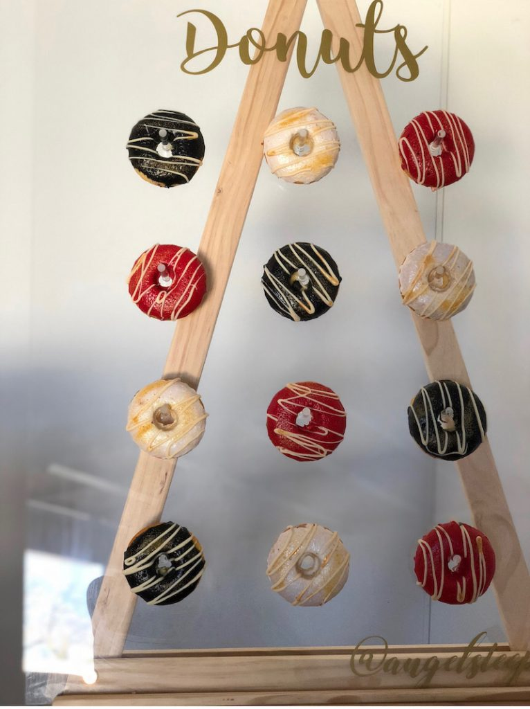 Delicious donut wall for slumber party, Angel's Teepees.