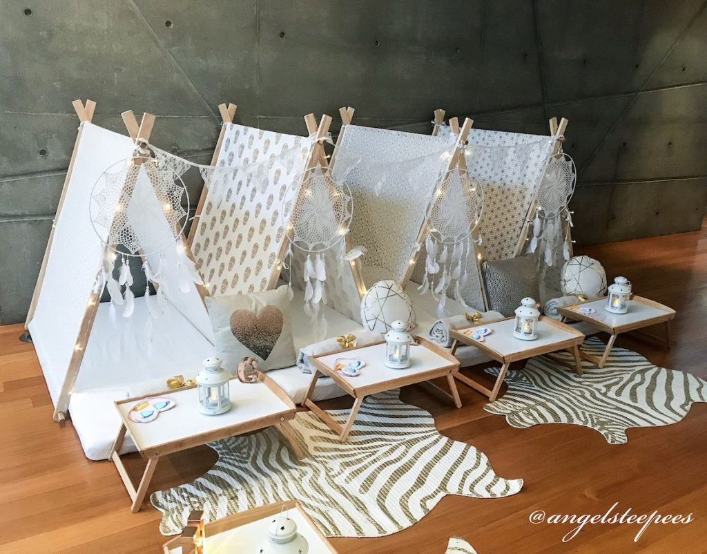 Golden Dreams Themed slumber party by Angels Teepees, Sydney, teepee parties, teepee party