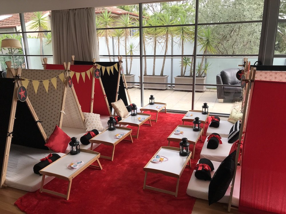 Hollywood Themed slumber party by Angels Teepees, Sydney, teepee parties, teepee party