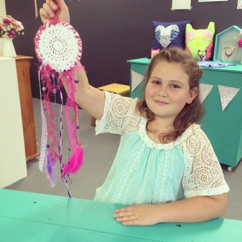 Happy birthday girl with dream catcher kit, Angels Teepees Sydney, teepee parties