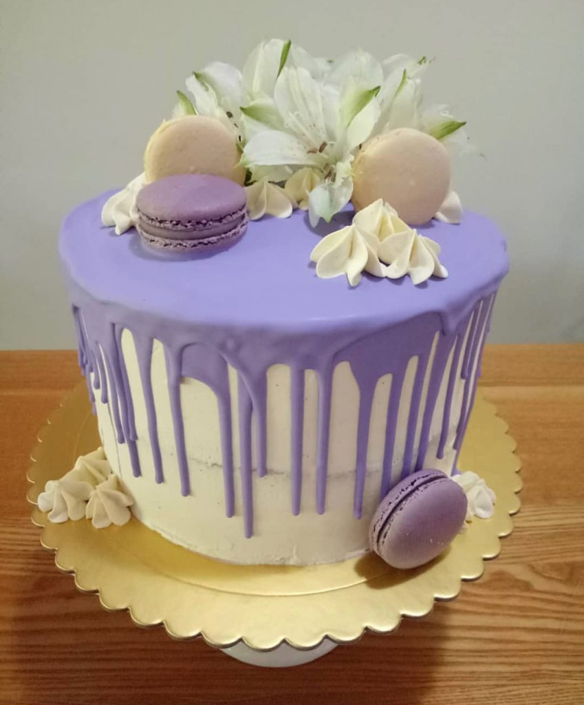 Beautiful macaron birthday cake for girl's slumber party.