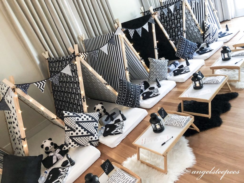Monochrome Themed slumber party by Angels Teepees, Sydney, teepee parties, teepee party