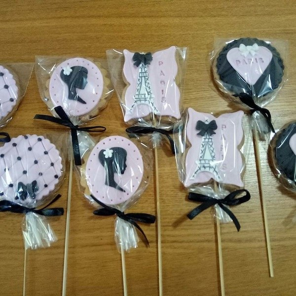 Paris themed cookies on a stick for girl's slumber party, teepee party Sydney.