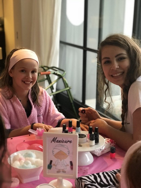young girl having her nails done at spa party, Angels Teepees, sydney