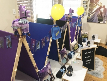 Fortnite Themed teepee party, slumber parties by Angels Teepees Sydney